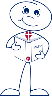 Man with book learning Danish with Ease